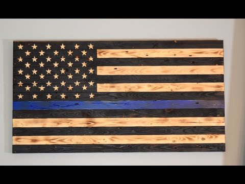 Wood US Flag Thin Blue Line