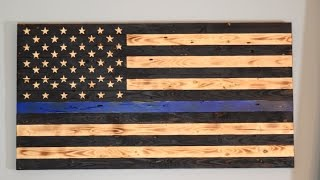 Wood U.S. Flag- Thin Blue Line