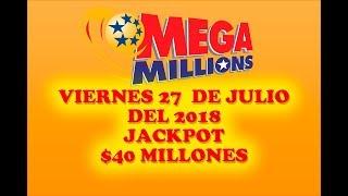 Gambar cover Resultados Mega Millions 27 Julio 2018 $40 Millones de dolares Powerball en Español