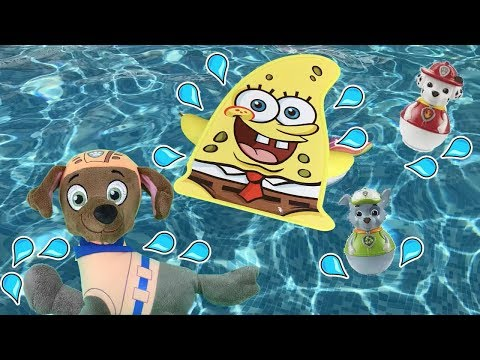 Juguetes paw patrol español:Bebes! juegos en piscina con bob esponja.Nuevo capitulo patrulla canina