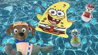 Juguetes paw patrol español:Bob esponja y bebes de la patrulla canina juegan a juegos en piscina