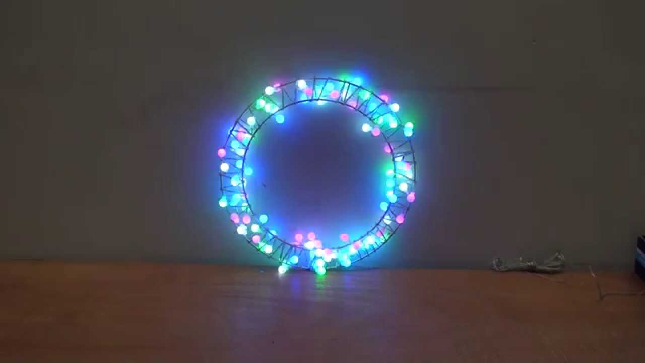 christmas lights new design flashing flower ring wreath decoration blue green purple white