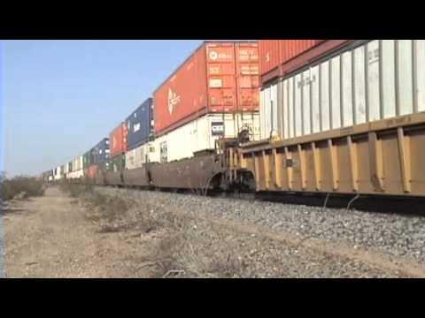 Westbound UP stack rolls down Cima Hill