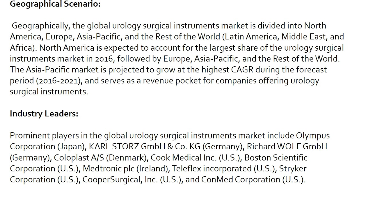 Urology Surgical Instruments: What Will be The Future Demand