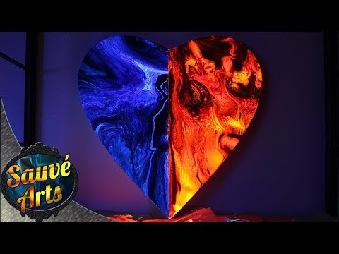 Fluid Acrylic Painting - Hard Edge Technique On Heart Shaped Canvas