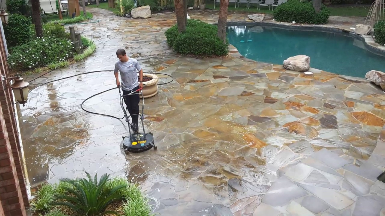 Cleaning flagstone patio - Cleaning Flagstone Patio - YouTube