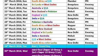 T20 World Cup 2016 Schedule & Time Table