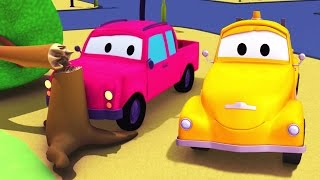 tom the tow truck and the pickup truck in car city   trucks construction cartoon for children