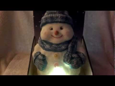 Dancing Snowman  with Light Up Buttons and Blue Scarf & Hat Sings Frosty the Snowman