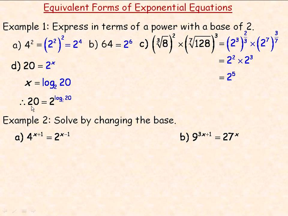 Equivalent Forms of Exponential Equations - YouTube