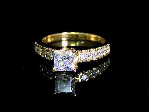 1 3/8 CTW Multi Stone Princess Cut Diamond Engagement Ring