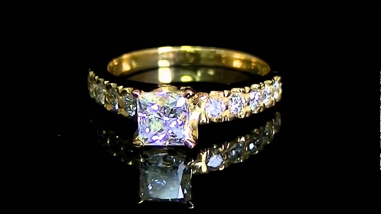 1 3 8 CTW Multi Stone Princess Cut Diamond Engagement Ring in 18K