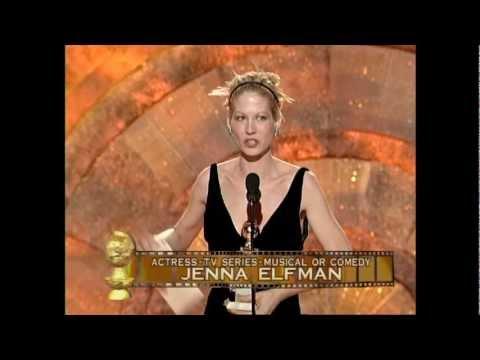 Jenna Elfman Wins Best Actress TV Series Musical or Comedy Golden Globes 1999