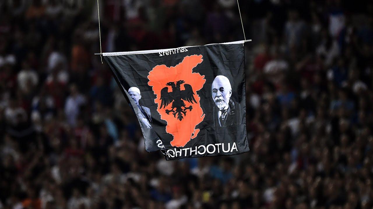 Albania Serbia Flag Drone