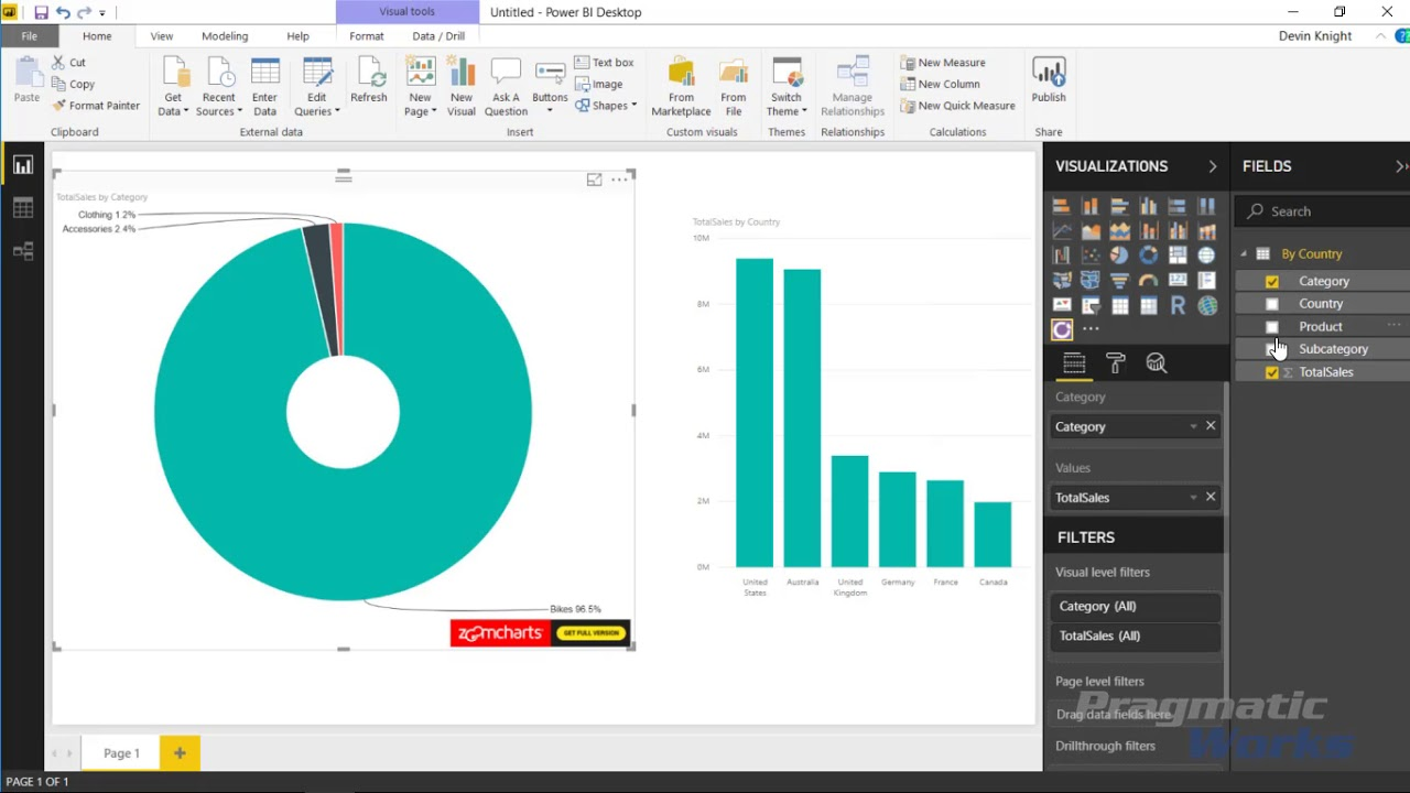 Power BI Custom Visuals - Drill-Down Donut Chart