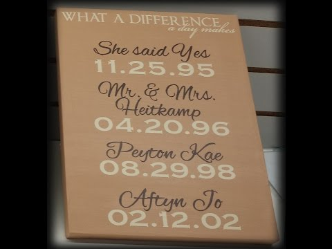 DIY Personalized 2 Color Vinyl Decal on Canvas with Names and Dates