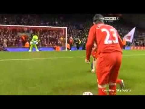 John Bishop gets ball kicked in his face by Robbie Fowler