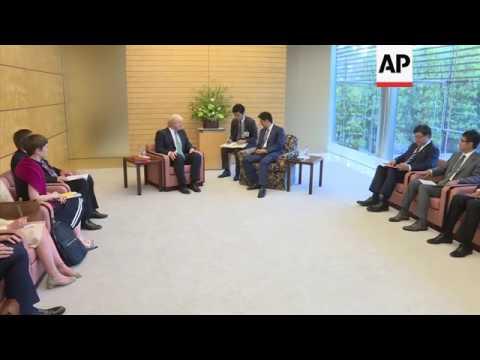 Japan PM Abe meets UK FM Johnson in Tokyo