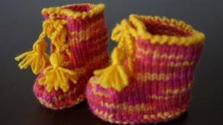 Пинетки-ботинки двумя спицами / Knitted baby booties