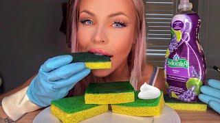 ASMR EDIBLE CAKE DISH SPONGE (PRANK) MOST ODDLY SATISFYING EATING SOUNDS, HUNNIBEE ASMR MUKBANG 먹방