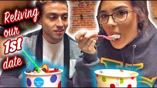 BUILDING OUR OWN FROZEN YOGURT AT THE PLACE WE MET!!!    Abe & Sav