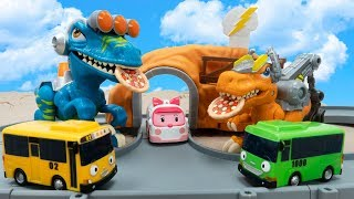 Robocar Poli and Tayo The Little Bus be careful. Hungry Dinosaurs - Car Toy for Kids