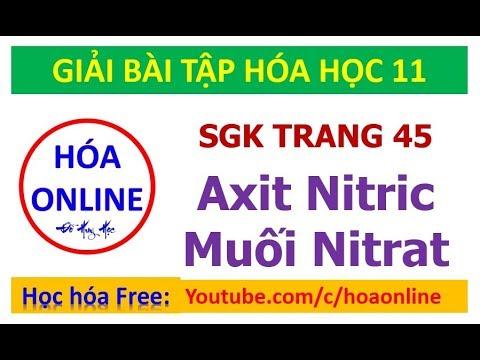 Giải bài tập hóa 11 – Trang 45 – Axit Nitric và muối Nitrat