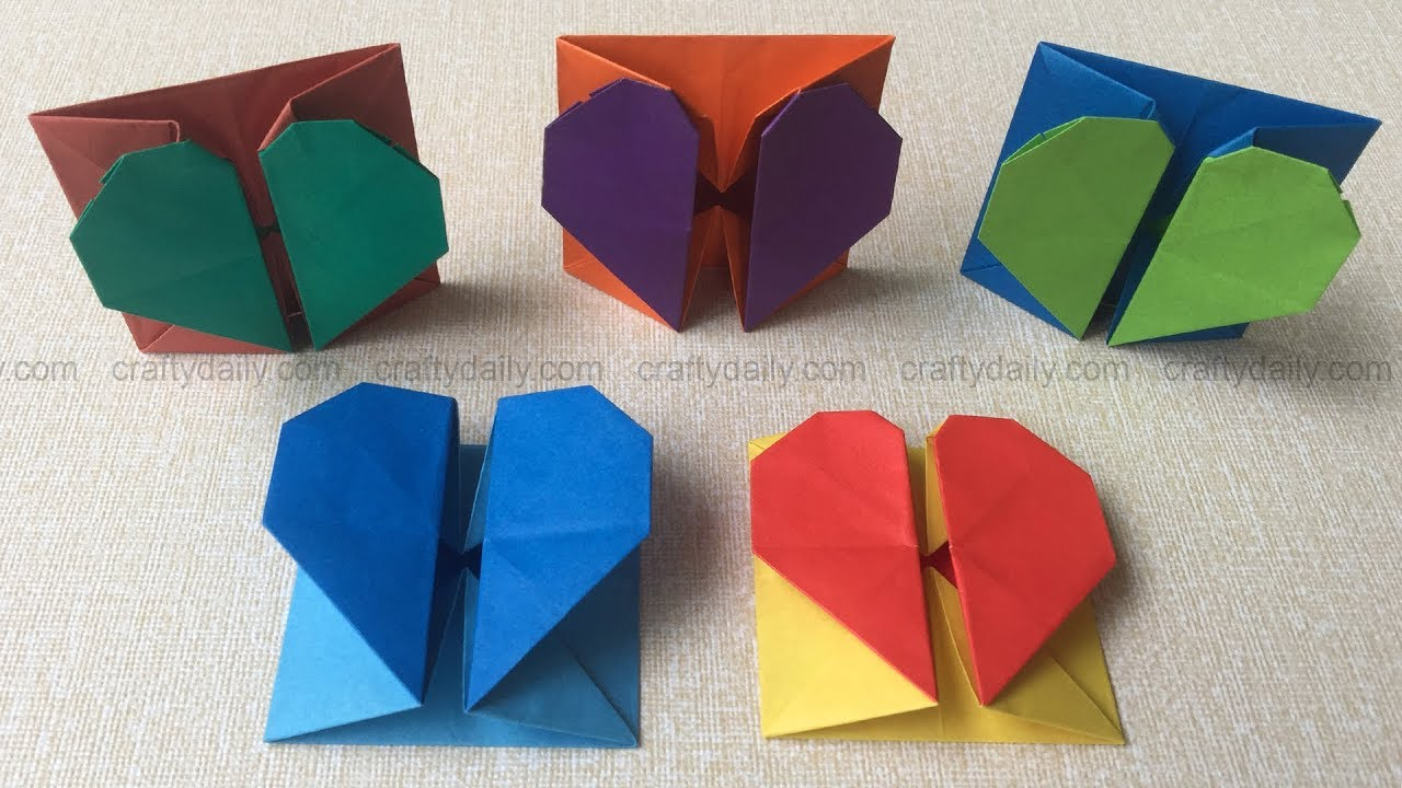Origami Heart Box Envelope How To Make An Origami Heart Box Step By Step Tutorial