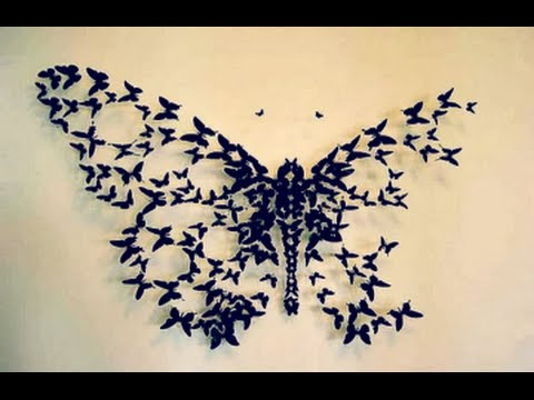 Marvelous DIY Butterfly Wall Decor Wall Decor Idea How to cut paper butterflies DIY With DianaTA