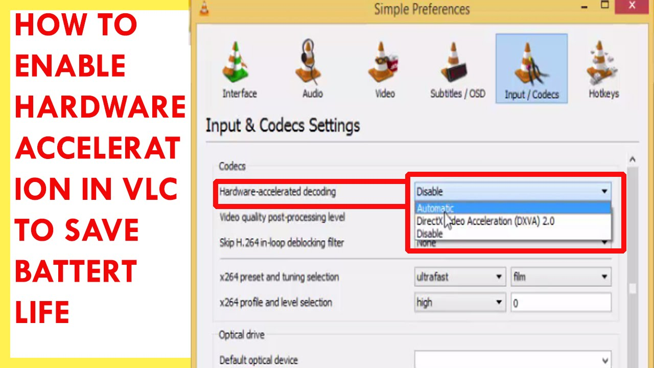 How to enable hardware acceleration 72