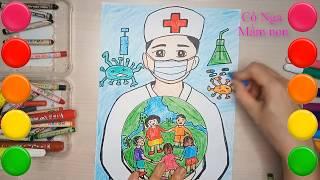Vẽ Tranh Cổ Động Phòng Chống Corona/ Vẽ tranh Bác sĩ chống dịch Corona
