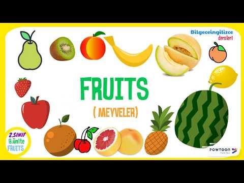 2 Sinif Ingilizce 9 Unite Fruits Meyveler Youtube