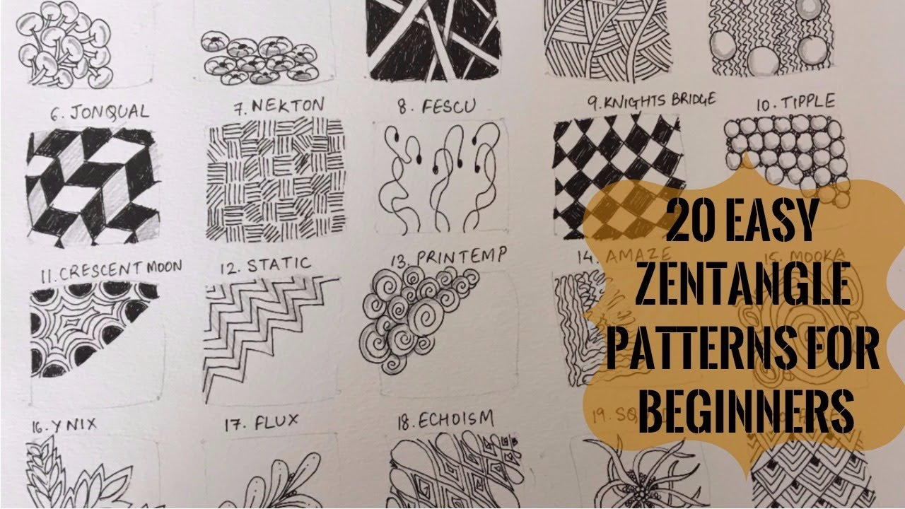 20 easy zentangle patterns for beginners to start off for Drawing patterns for beginners