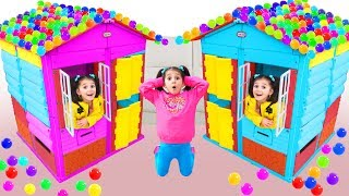 GIANT Colorful House With Colorful Balls Pretend Play with Fatima