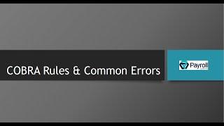 Cobra rules and common errors