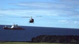 My helicopter arrives to take me off Tristan da Cunha