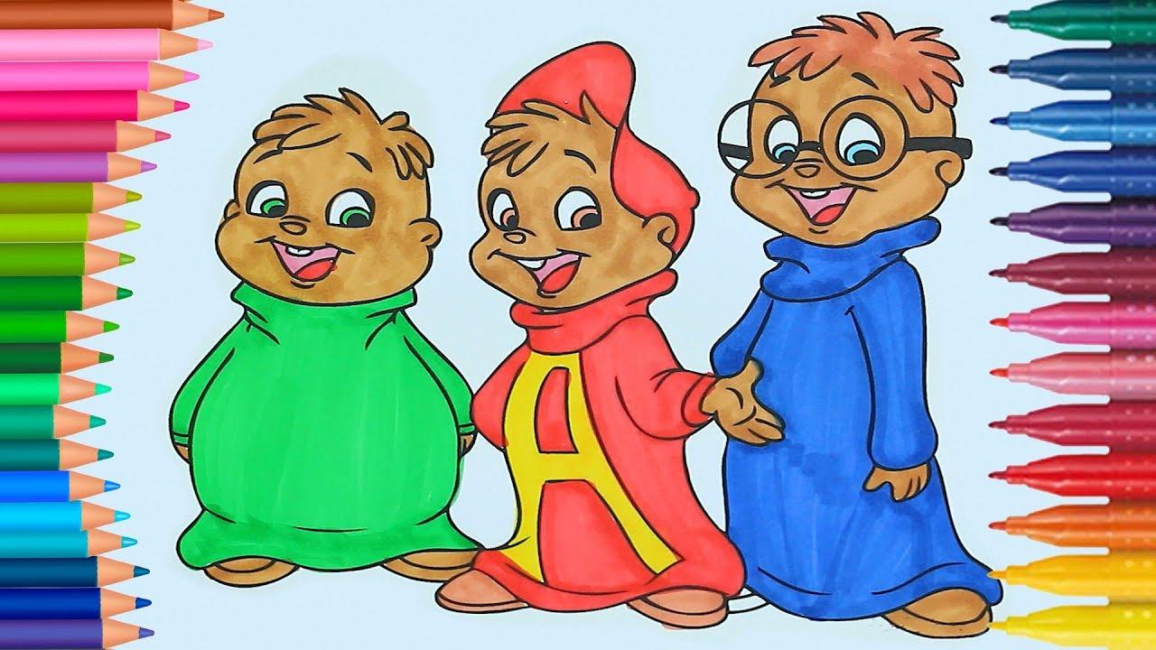 Alvin e il chipmunks come disegnare e colorare disegni for Immagini da colorare alvin