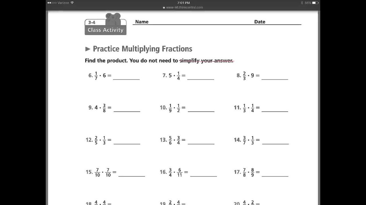worksheet Multiply Fractions By Whole Numbers math expressions part two multiplying fractions to whole numbers other fractions