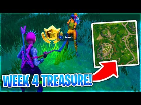 WEEK 4 CHALLENGE TREASURE 'Search Between A Gas Station, Soccer Pitch And Stunt Mountain' Fortnite