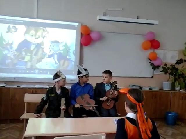 Изображение предпросмотра прочтения – «МБОУ СОШ №5 города Кузнецка 5 а класс» читают произведение «Квартет» И.А.Крылова