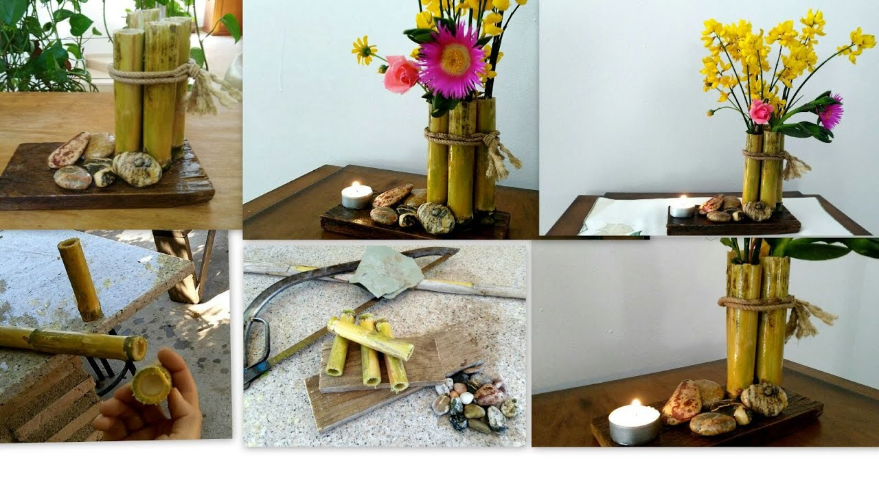 Manualidades con reciclaje florero de ca a comun tips - Reciclaje de la madera ...