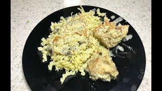 323 Тушеный кролик с грибами под белым соусом.Stewed rabbit with mushrooms in white sauce