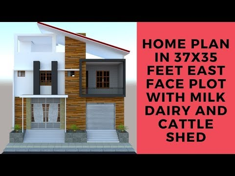 Home plan in 37x35 feet east face plot with milk dairy and cattle shed
