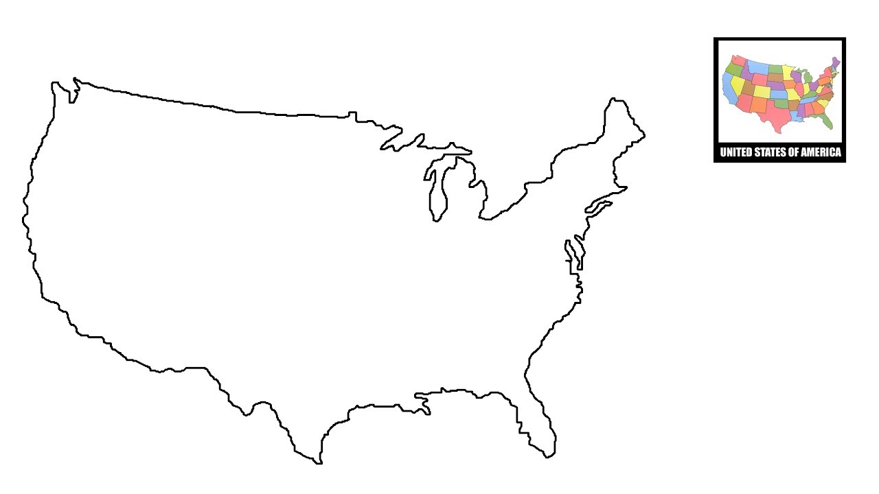Line Drawing United States : How to draw map of usa united states youtube