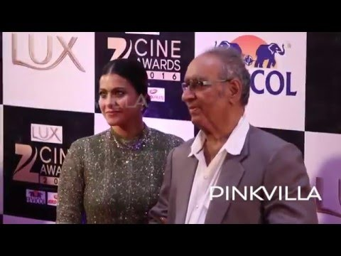 Kajol with Father in Law Veeru attends Zee Cine Awards 2016