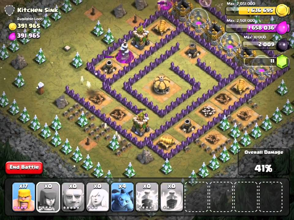 Clash Of Clans Level 46 Kitchen Sink @ TH8 - Dec 2013 - YouTube