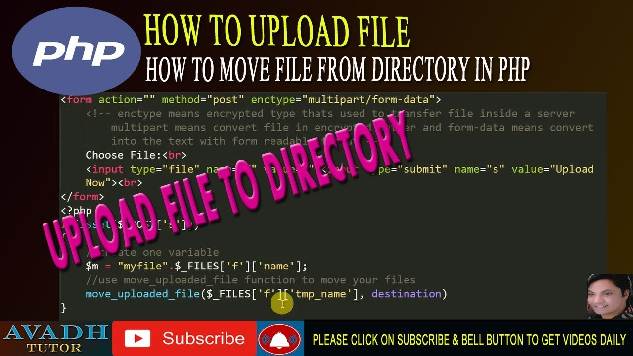 move_uploaded_file function in php | how to move file from directory in php  | upload file in php