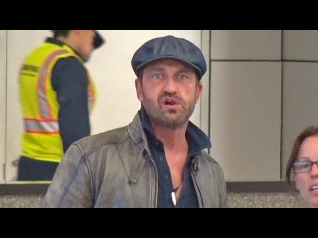 Gerard Butler Appears Stunned By Kourtney Kardashian Chaos At LAX
