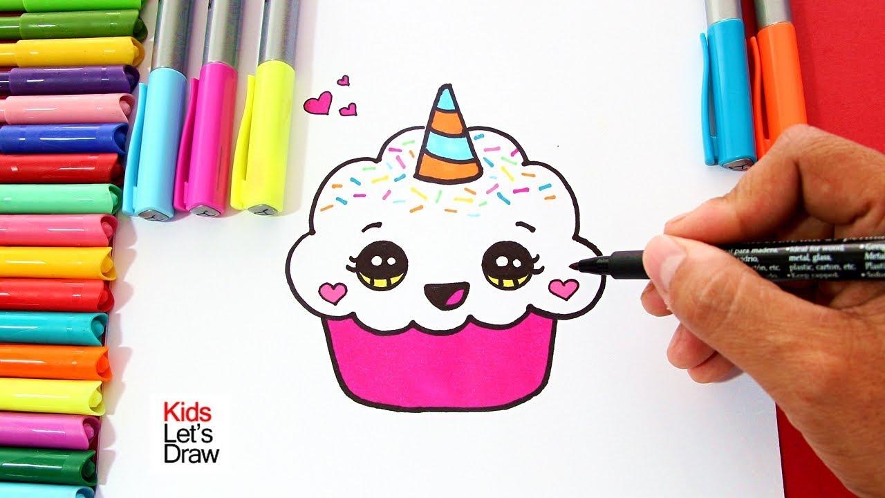 Como Dibujar Un Cupcake Unicornio Facil Paso A Paso How To Draw A