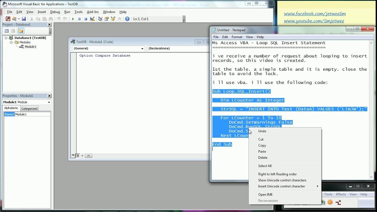 Ms Access - VBA - Loop SQL Insert Statement